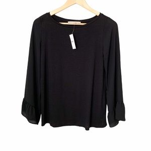 LOFT Black Blouse with Sheer Bell Sleeves